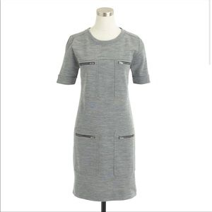 J Crew Grey Black Zip Pocket Shift Dress